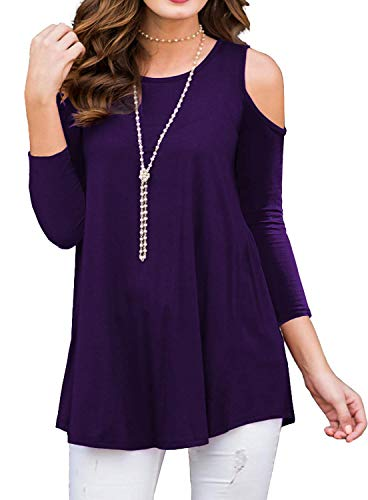 (BLUETIME Womens Fall Cold Shoulder Tops Plus Size Flowy 3/4 Sleeve Shirts Blouse (Purple, XXL))