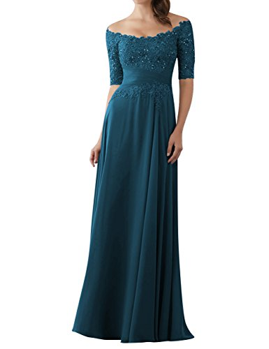 Evening Dresses Mother of The Bride Gowns with Sleeves Lace Long Chiffon Beaded Teal US18W ()