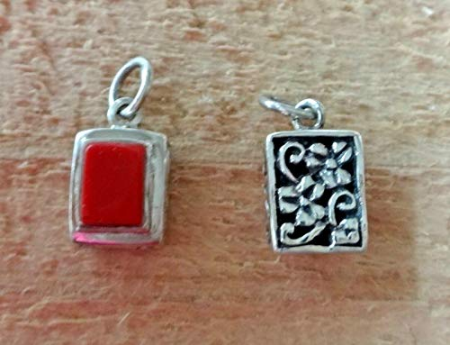 (Fine Charms 1 Sterling Silver Small 13x8mm Reversible Rectangular Red Stone Pendant)