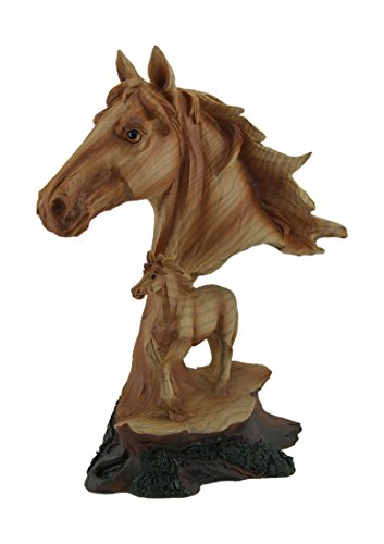 - Zeckos Faux Carved Wood Look Horse Head and Foal Statue