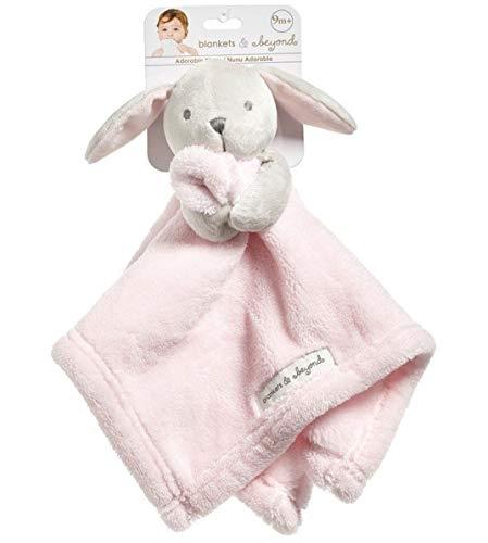 Blankets and Beyond Grey Bunny with Pink Blanket Nunu Baby Security Blanket