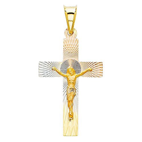 Million Charms 14k Tri-color Gold Religious Jesus Block Cross Crucifix Stamp Charm Pendant (30mm x 18mm)