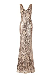 Matouyigui Women's V-Neck Sequin Elegant Formal Evening Dresses for Wedding Party