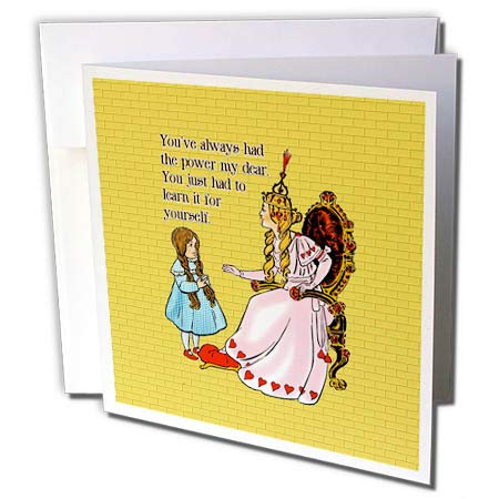 3dRose Russ Billington Designs- Wonderful Wizard of Oz - Youve Always Had The Power My Dear Graphic on Yellow Brick Background - 12 Greeting Cards with envelopes (gc_302295_2)