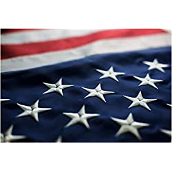 AMERICAN FLAG FBNC, 3x5 FT, Durable Polyester, Embroidered WHITE Stars and BRASS Grommets, STRENGTHENED by Double Stitching
