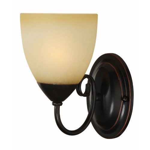 Hardware House Berkshire Series 1 Light Oil Rubbed Bronze 5 Inch by 8-1 4 Inch Bath Wall Lighting Fixture 16-8137