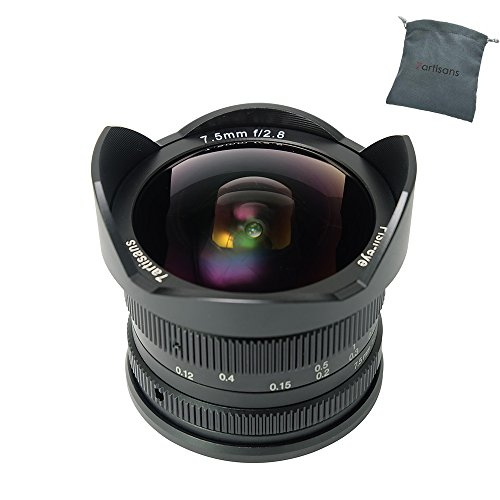 7artisans 7.5mm F2.8 APS-C Wide Angle Fisheye Fixed Lens for Canon Compact Mirrorless Cameras Canon EF-M Mount M1 M2 M3 M5 M6 M10-Black