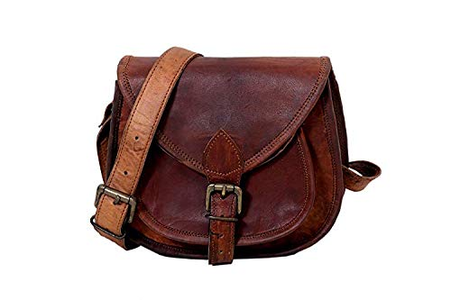 Shakun Leather Handmade Womens Vintage Genuine Brown Cross Body Bag, NEW
