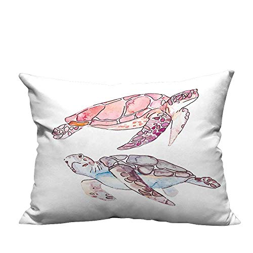 YouXianHome Decorative Throw Pillow Case Painted Watercolor Artwork of Two Turtles Pastel Cute Underwater Theme Pink Fuchsia Purple Ideal Decoration(Double-Sided Printing) 13.5x19 inch