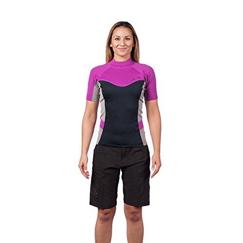 Level Six Women's Sombrio Shorts Sleeve Neoprene Rashguard, Large, Aubergine