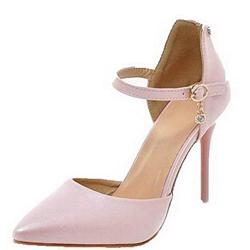 VogueZone009 Women Buckle Pu Closed-Toe High-Heels Solid Sandals, CCALP014055 Pink