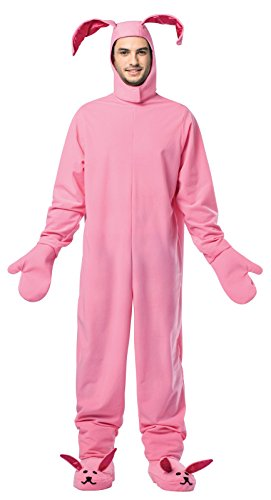 Bunny Costumes For Adults (Rasta Imposta Men's Christmas Bunny, Pink, One Size)