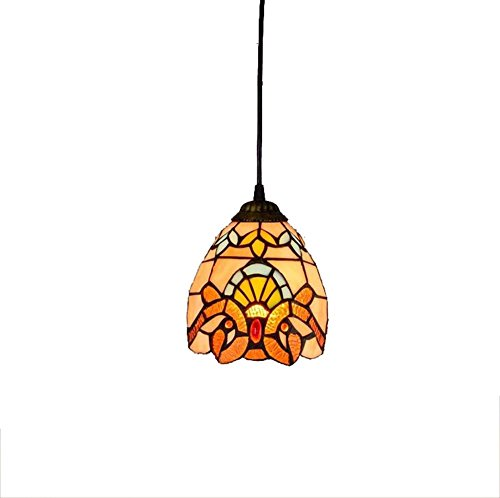 6-inch Tiffany Style Chandelier European Retro Stained Glass Pendant Lamp Baroque Living Room, Bedroom, Kitchen Decoration Ceiling Pendant Lamp E27X1, 110-240V (Bulbs Not Included)