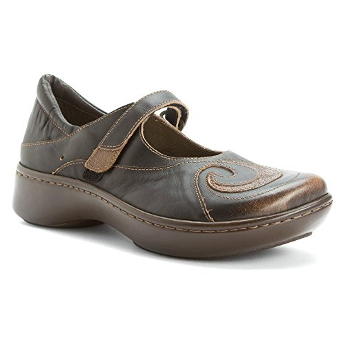 NAOT Women's Sea Mary Jane Flat, Volcanic Brown Leather/Bronze Shimmer Suede, 37 EU/6-6.5 M - Leather Bronze Footwear