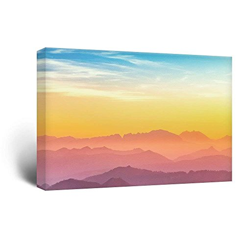 wall26 Canvas Wall Art - Mountain Ranges at Sunset - Giclee Print Gallery Wrap Modern Home Decor Ready to Hang - 24x36 inches ()