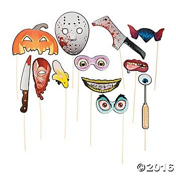 Paper Spooky Halloween Photo Booth Stick Props - 12 pcs