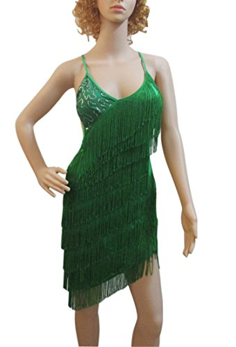 [Whitewed Sequin Fringe Dance Recital Competition Costumes Wear for Adults Green] (Dance Costumes For Competition For Adults)