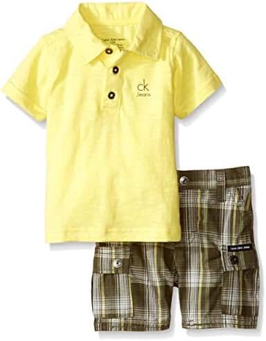 Calvin Klein Baby Boys' Jersey Polo Shirt and Plaid Shorts