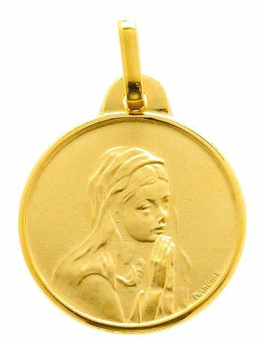 Diamantly - Médaille Vierge En Priere Mat Lisse - or 375/1000 (9 Carats) - Unisex - Enfant -Bebe-Adulte