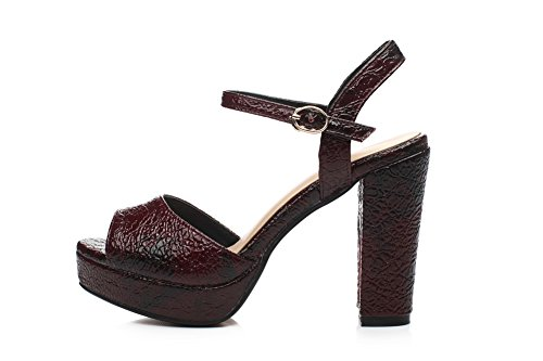 1TO9 Girls Solid High-Heels Cow Leather Sandals Claret CoeEHkFhcA