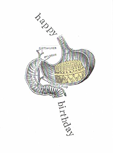Happy Birthday Anatomical Stomach Birthday Card | Birthday Cake Funny Medical Science - Geeky Specs