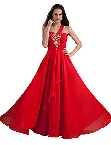 Snowskite Women's One Shoulder Long Chiffon Beaded Evening Bridesmaid Dress Red 28