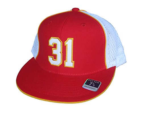 NFL Team Apparel Priest Holmes #31 Kansas City Chiefs Throwback Fitted Size 7 5/8 Hat Cap - Nfl Throwback Wool