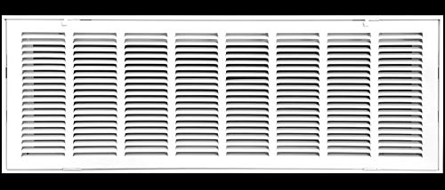 30 X 14 Steel Return Air Filter Grille for 1 Filter - Fixed Hinged - Ceiling Recommended - HVAC Duct Cover - Flat Stamped Face - White [Outer Dimensions: 32.5 X 15.75]