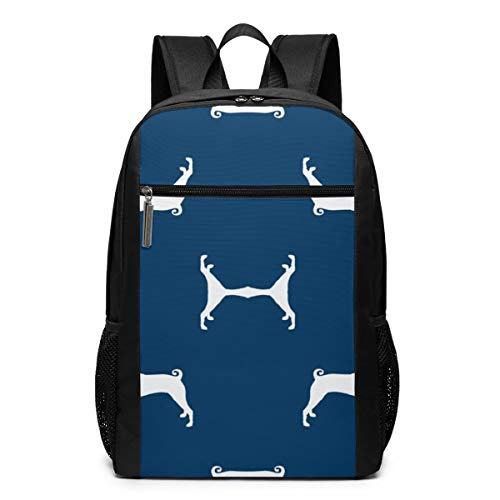 (Basenji Silhouette Dog Fabric Navy Wallpaper College Laptop Backpack Water Resistant Anti-Theft Bag Computer Business Backpacks For Women Men School Student,Bookbag Casual Hiking Travel Daypack)