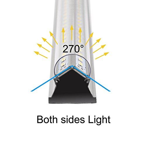 Byingo 2-Row V-Shape 4ft 36W 6000K T8 LED Integrated Single Fixture Tube Shop Light Garage Light 4300 Lumens Super Brightness Clear Cover Daylight White AC 100-277V, 8-Pack by Byingo (Image #1)