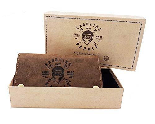 Vintage Biker Wallet Geldbörse original GASOLINE BANDIT® aus Echtleder mit Kette