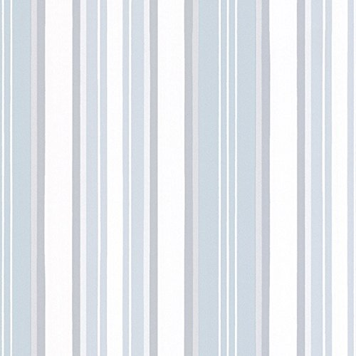 Norwall SD25660 Textured Stripe Prepasted Wallpaper Silver, Light Blue, White