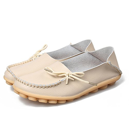 Fashion brand best show Womens Leather Loafers Flats Casual Round Toe Moccasins Wild Breathable Driving Shoes