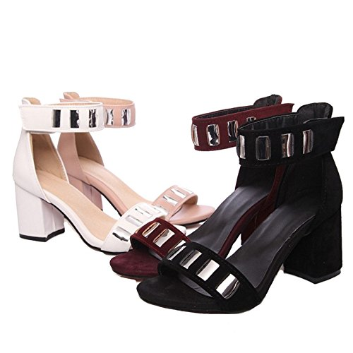 SJJH Women Sandals with Ankle Straps and 4-Colors Available Large Size 10 UK Sandal Shoes with Low Heel Black oKeQ0L