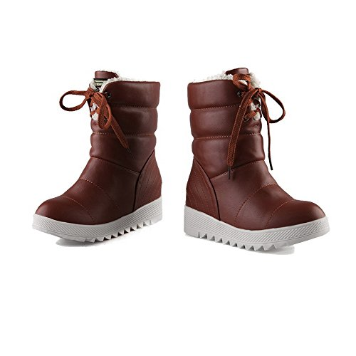 Soft Low Round Material Solid Toe Boots Low Brown top Closed WeenFashion Heels Women's zZqxtw6Hz5