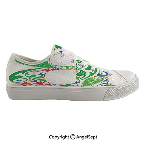 Durable Anti-Slip Sole Washable Canvas Shoes 15.74inch Capital with Spring Herbs Flowers Petals Leaves Nature Harvest Swirls Vivid Image,Multicolor Flexible and Soft Nice Gift