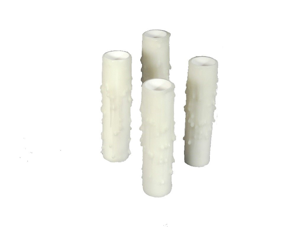 Set of 4 pc 4'' Tall White Candelabra Base Thin 3/4'' Inner Diameter Beeswax Candle Covers, Socket Sleeves Chandelier Socket Covers by Lighthouse Industries