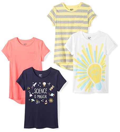 Spotted Zebra Little Girls' 4-Pack Short-Sleeve T-Shirts, Future, X-Small (4-5) ()