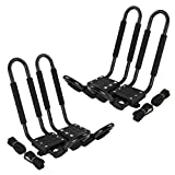 Tengchang J-Bar Rack HD Kayak Carrier Canoe Boat Surf Ski Roof Top Mounted on Car SUV Crossbar