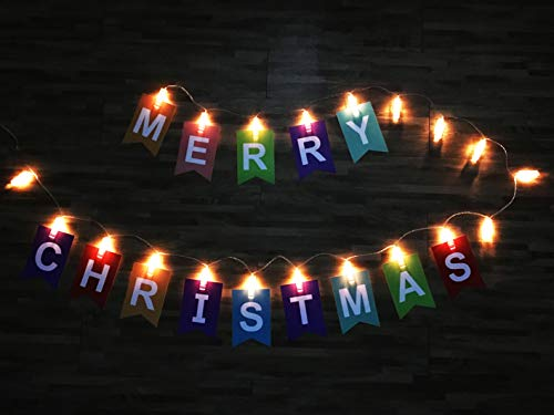 Light up Merry Christmas Banner | Glow in The Dark Christmas String Light Sign, LED Holiday Home Party Decorations