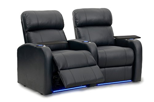 Diesel XS950 Home Stadium Chairs - Octane Seating - Black Leather - Memory Foam - Accessory Dock - Power Recline - Curved Row 2 (Leather Curved 2 Seat)