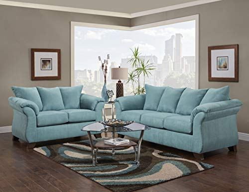 Chadwick Capri Blue Sofa & Loveseat 2-pc Set Only Capri Blue/Contemporary