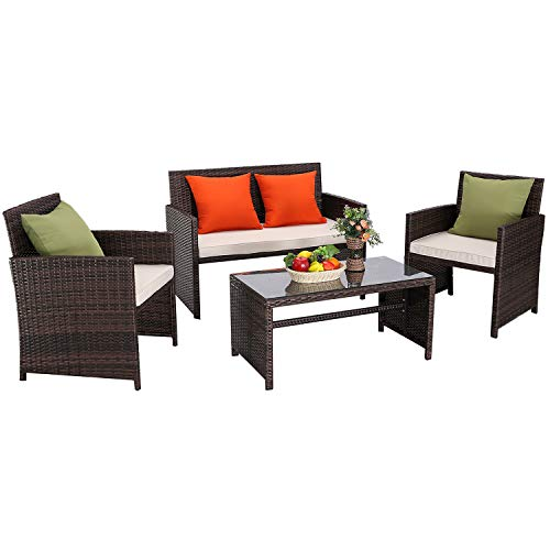 Furnimy 4 Pieces Outdoor Patio Furniture Set Cushioned Seat Conversation Sofa Set Mix Brown Rattan Wicker with 1 Loveseat, 2 Single Chairs and 1 Coffee Table