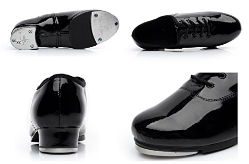 BeiBestCoat Dancing Tap Shoes Shoes Black Patent Men for rwvpIqr6