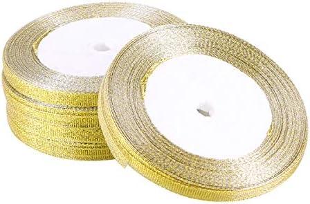 Toyvian キラキラリボンメタリックリボンロールdiyクラフトリボンギフト包装用ボックスアート装飾(ゴールデン)