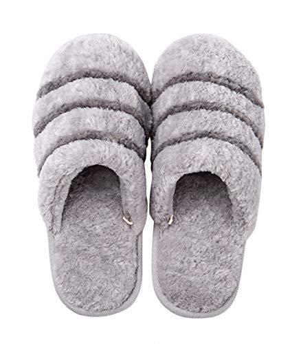 Anti House Fur Womens Grey Fuzzy Slippers Faux Thermal Slip AGOWOO qxZ4w0fEf