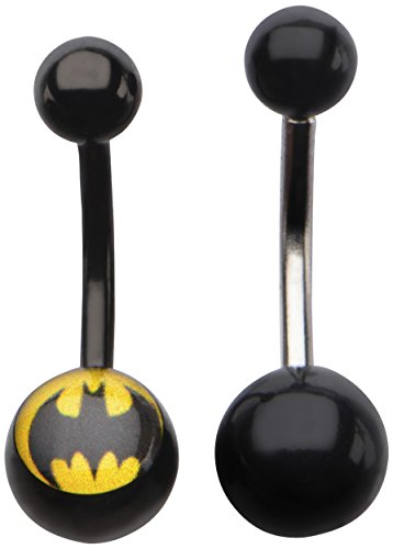 Dc Comics Unisex Batman 316l Surgical Steel Navel Rings Body Piercing Jewelry 14 Gauge 7 16 2 Piece Set Silver Black Yellow One Size
