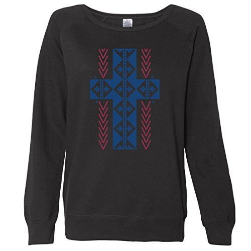 Hot Dolphin Shirt Co Native American Southwest Cross Ladies Lightweight Fitted Crewneck