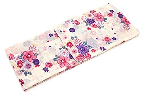 糞英語の授業がありますトリクル浴衣 bonheur saisons(ボヌールセゾン) アイボリー ピンク 花 レトロ柄 ラメ 綿