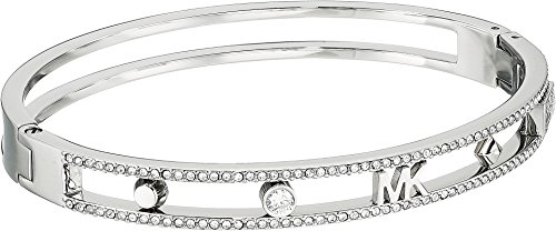 Michael Kors Women's Heritage In Full Bloom Pave Rimmed Bangle with MK Logo Silver One - Handbag Michael Clear Kors